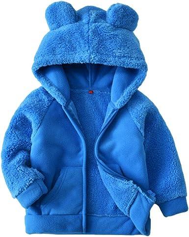 Digirlsor Toddler Jacket Boys Bear Ears Shape Fleece Warm Hoodies Kids Zip-up Light Sweatshirt Outwear 2-6Y