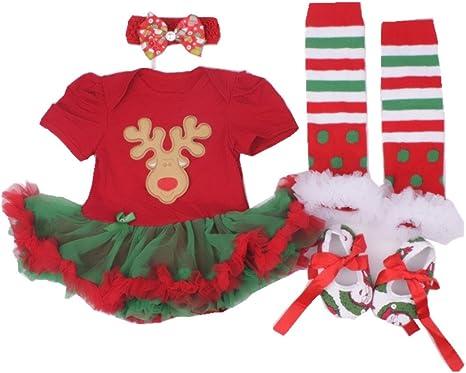 XMAS Reindeer Print Red White Dot Top Red White Snowflake Girl Pettiskirt 1-8Y