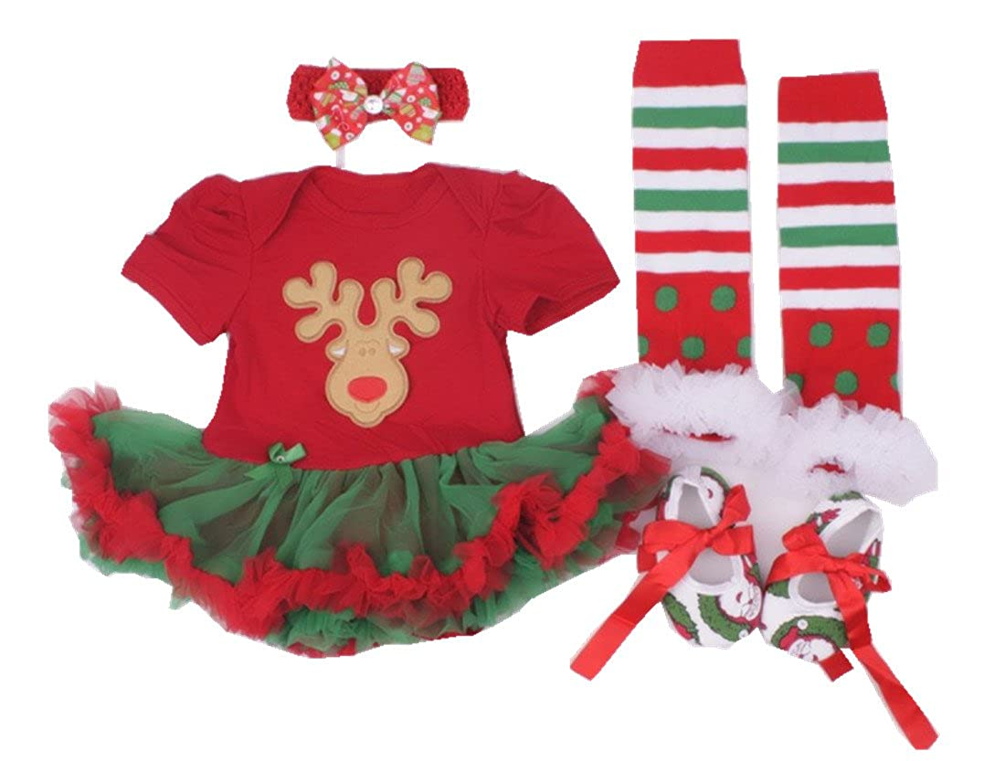 "25c0dcc68369 Christmas 4pc sets gifts package: 1pc onesie(or tutu skirt dress) + 1pc  bloomer(or shoes)+ 1pc headband+ 1pair leg warmers(legging length around  8.66"") or ..."