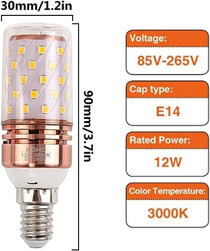 E14 LED Maíz Bombillas 12W AC85-265V 1000LM, 100W incandescente ...