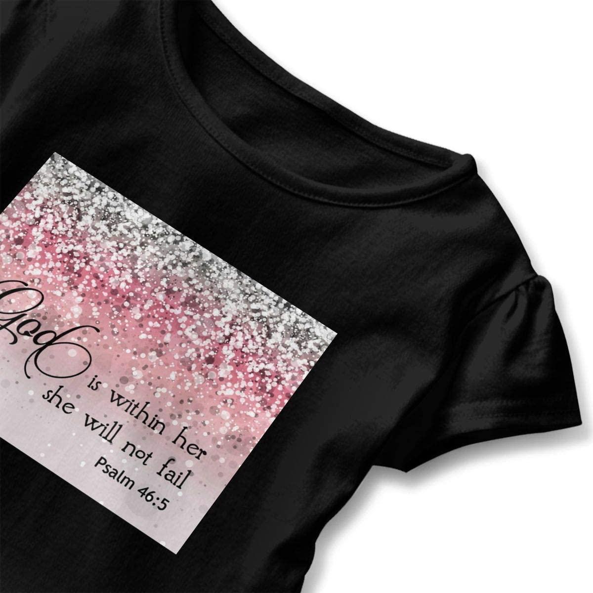 Not Available Pink Sparkles Glitter Baby Girls Short Sleeve T-Shirt Flounced Graphic Tees for 2-6 Years Old Baby