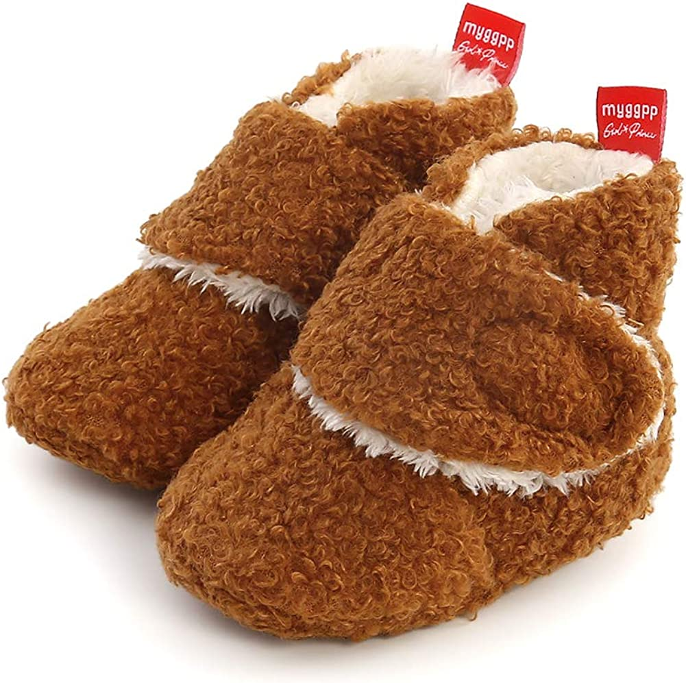 CARREAN Baby Boys Girls Cotton Booties Non Skid Soft Sock Boots Infant Slippers Newborn First Walker Crib Shoes