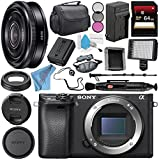 Sony Alpha a6300 Mirrorless Digital Camera (Black) ILCE6300/B + Sony E 20mm f/2.8 Lens SEL20F28 + NP-FW50 Replacement Lithium Ion Battery + External Rapid Charger Bundle