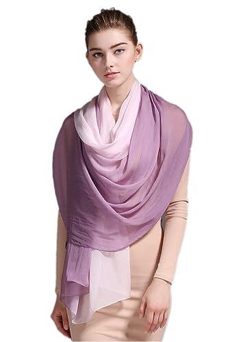 Prettystern - 180cm x 70cm gradiente de la bufanda el 100% de la bufanda de seda de las mujeres - se...