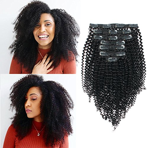 Beauty : Sassina Remy Brazilian Double Weft 8A 3B 4A Kinky Curly Clip in Human Hair Extensions Natural Black Color 7Pcs/lot 120Grams/set With 17 Clips For Black Women, KC 16 Inch