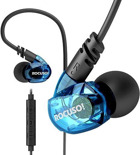 ROCUSO Ecouteur Étanche Sport avec Basse Stéréo et Microphone Volume Telecommande, Casque Audio Sport pour Courir Gym Jogging Entraînement, Écouteurs
