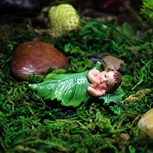 "Danmu 4Pcs of Polyresin Mini Size Sleeping Fairy Miniature Figurines, Fairy Garden Accessories, Fairy Garden Supplies, Fairy Garden Animals for Fairy Garden, Bonsai Craft Decor 1 4/5"" x 9/10"" x 1/2"""