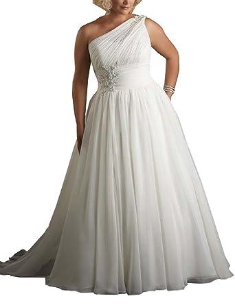 84b90e2657e Mulanbridal Women s One Shoulder Beach Wedding Dress Pleated Bridal Gown  Empire at Amazon Women s Clothing store