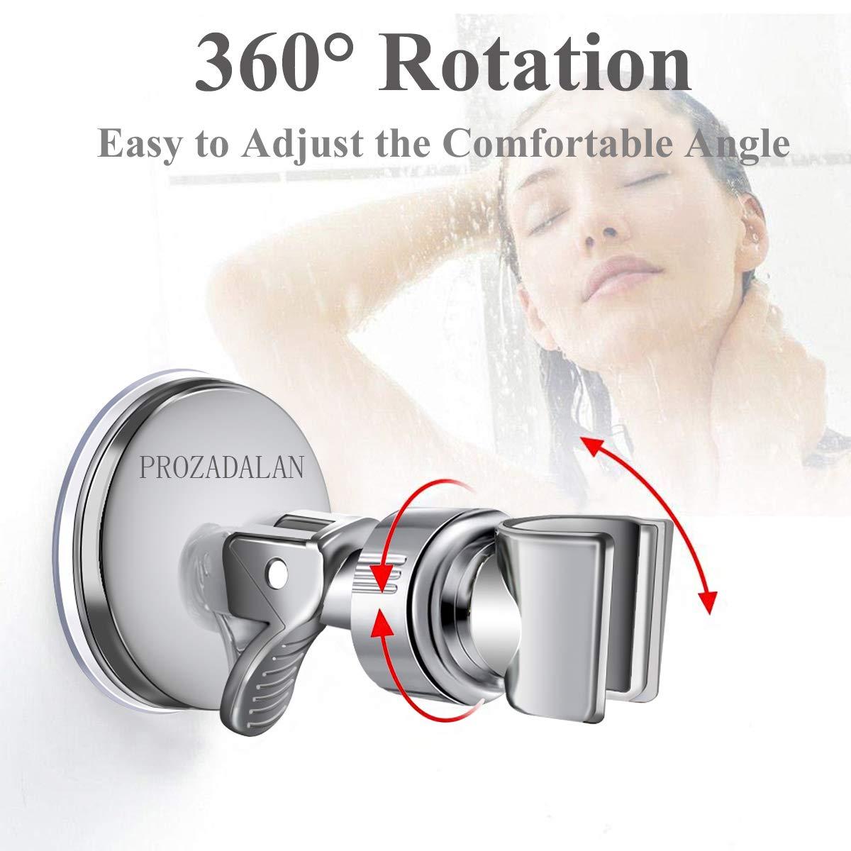 Sliver-1 Ventosa de Vac/ío Ajustable en /ángulo soporte de Ducha Ajustable de rotaci/ón de 360/° Soporte de Ducha Soporte de Cabezal de Ducha Soporte de Ducha de Mano Ajustable Extra/íble
