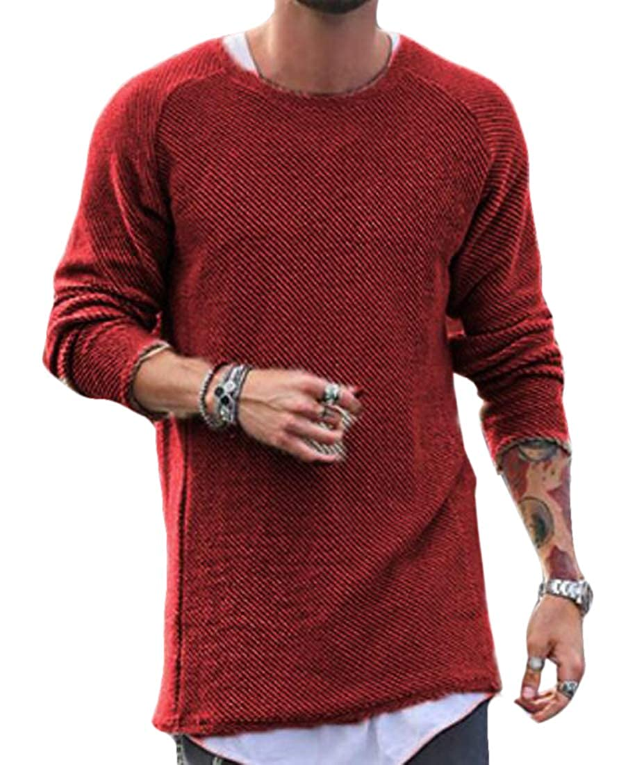 KLJR Men Slim Fit Knitted Long Sleeve Crew-Neck Pullover Sweaters