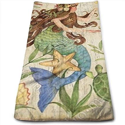Amazoncom Mermaid Bath Towels For Bathroom Hotel Spa Kitchen Set