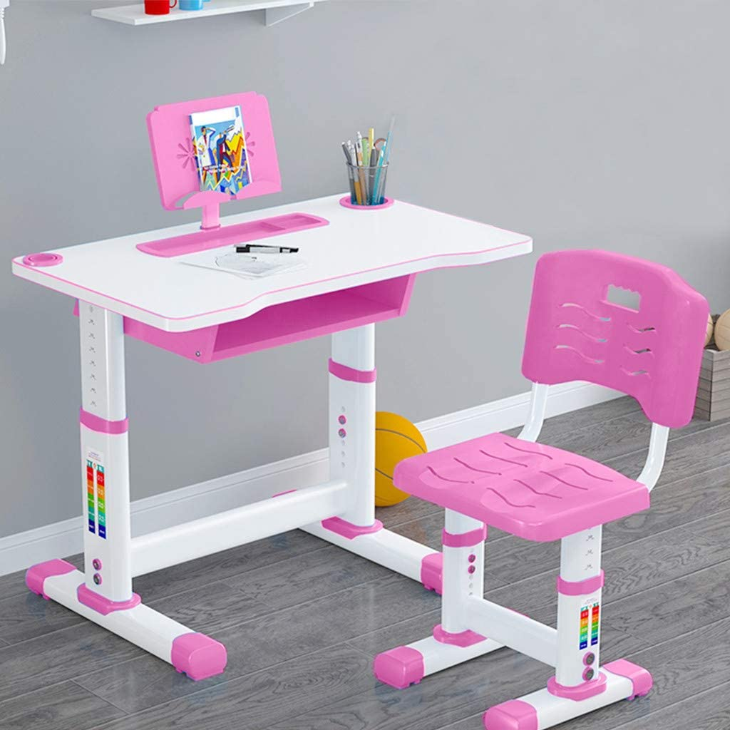 KANGMOON Kids Study Desk and Chair Set, Height Writing Adjustable, Pull Out Drawer Storage with Tilted Desktop, Drafting Table for 6 8 10 15 Years Boy & Girls