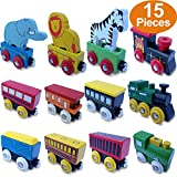 FLASH SALE | Wooden Train Set 12 PCS - Magnetic Engines With 3 Bonus Animals - Deluxe Toys For Kids Toddler Boys and Girls - Compatible with Thomas Railway, Brio Tracks, and Major Brands