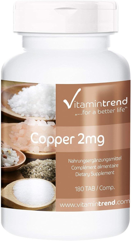 Cobre 2mg – ¡Bote para 6 MESES! – Vegano – Suplemento de cobre – 180 comprimidos