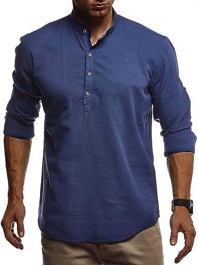 CAOQAO Camisas Lino Hombre con Cuello Redondo Manga Larga S-XXL Seis Colores: Amazon.es: Ropa y accesorios