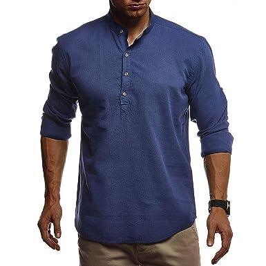 CAOQAO Camisas Lino Hombre con Cuello Redondo Manga Larga S-XXL ...