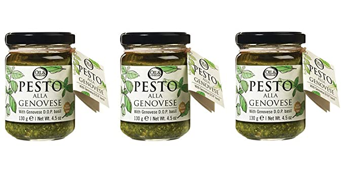 Amazon Com Oil Vinegar Basil Pesto Sauce 4 59 Oz Jars 3 Packs Grocery Gourmet Food