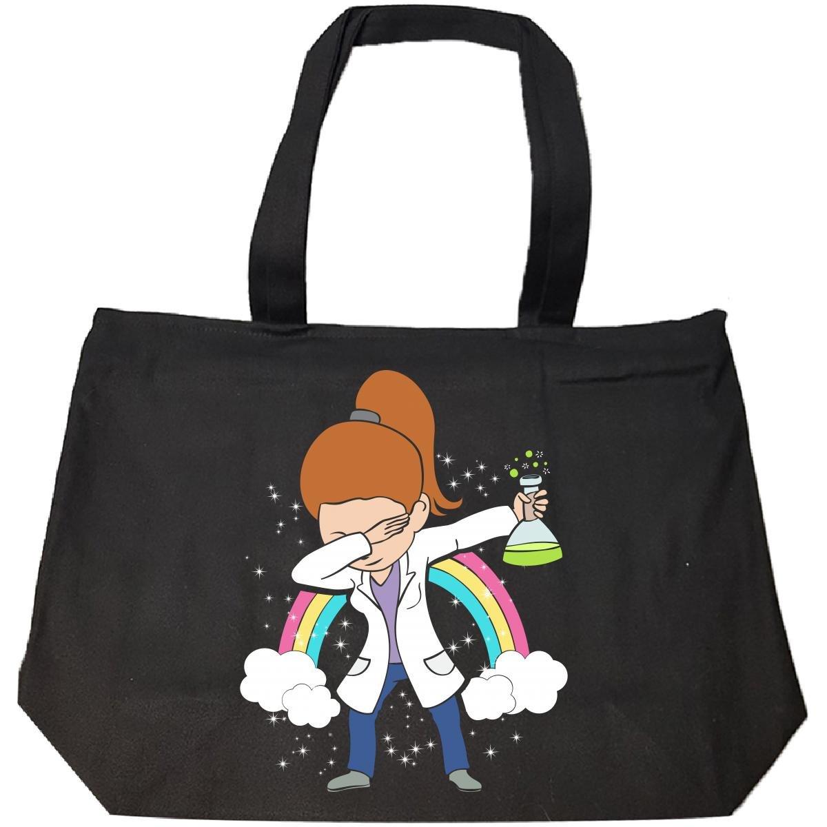 Dabbing Mom Wearing Labcoat Scientist Brunette Hair Gift - Tote Bag With Zip
