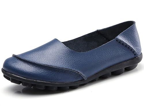 CCZZ Mujer Mocasines de Cuero Moda Loafers Cómodo y Antideslizante Casual Zapatillas Verano Zapatos del Barco Zapatos para Mujer Zapatos de Conducción: ...