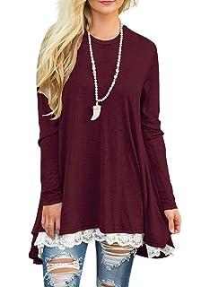 e12cea469aa43f Sanifer Women Lace Long Sleeve Tunic Top Blouse