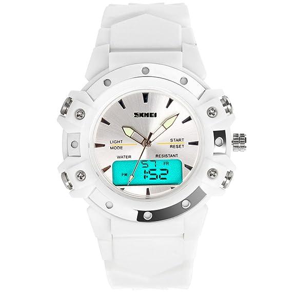 E-futuro elegante blanco para mujer de goma de silicona pantalla de LED a prueba de agua del deporte del reloj Digital analógico: Amazon.es: Relojes