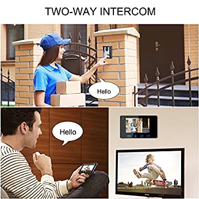 Wired Video Door Phone Intercom System,Video Doorbell Kits 1-7Inch Color Monitor and 2-HD Camera Video Door Chime with Night Vision for Home Security
