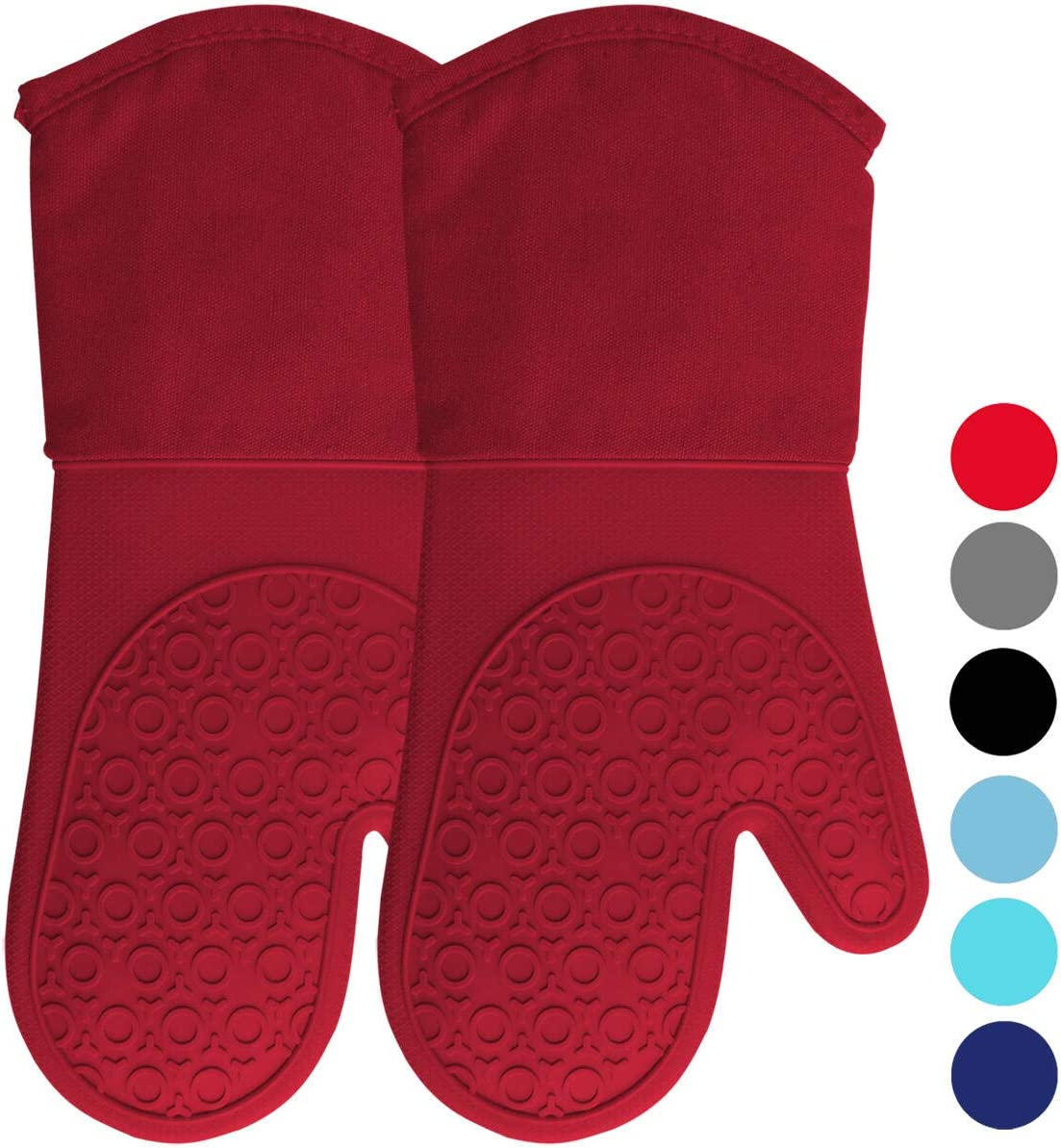 HOMWE Extra Long Professional Silicone Oven Mitt, Oven Mitts with Quilted Liner, Heat Resistant Pot Holders, Flexible Oven Gloves, 1 Pair, 13.7 Inch, Empire Red