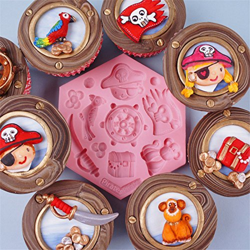Navigation Pirates Cupcake Silicone Mold Fondant Mould Cake Decorating Tools Chocolate Gumpaste Molds, Sugarcraft, Kitchen Kangsanli