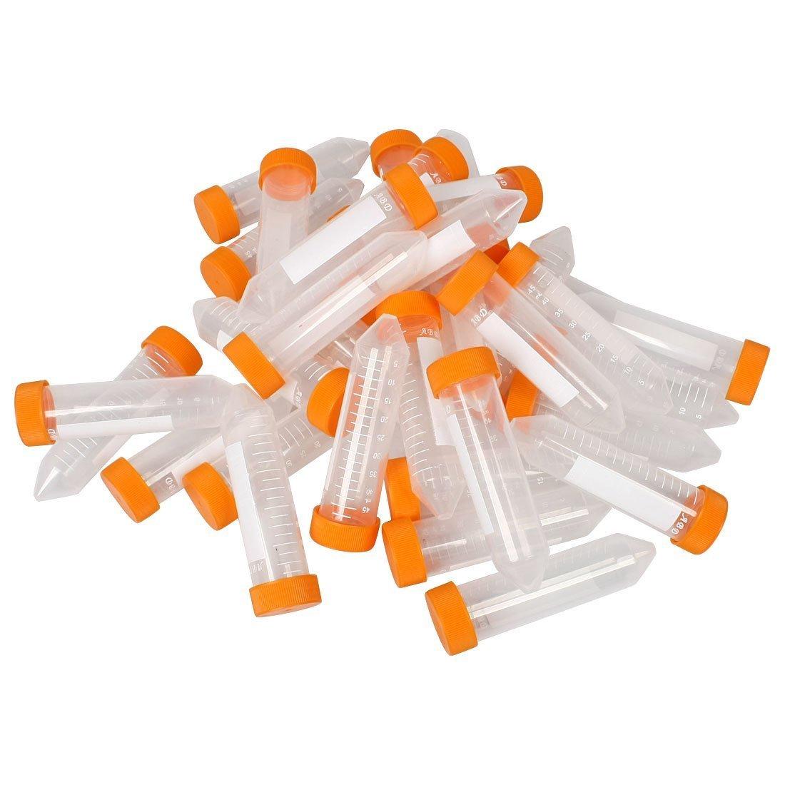 Lot de 5050ml conique en plastique transparent blanc Bas tubes à centrifuger w orange Pac Sourcingmap a13012300ux0084