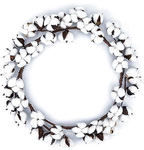 BOMAROLAN Artificial Cotton Wreath 16
