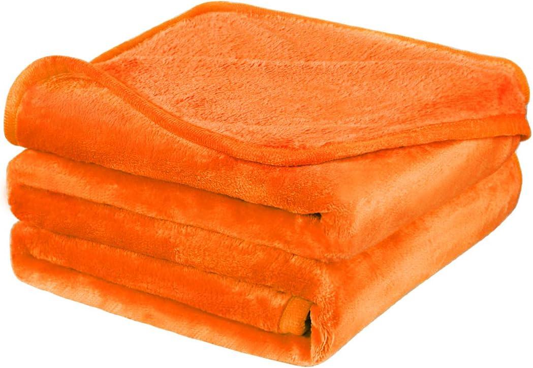 PiccoCasa Franela Lana Manta,Sólido Microfibra Felpa Sofá Sillón Cubierta, Suave Caliente Borroso Liviano Mantas para Cama Naranja 150 x 200 cm
