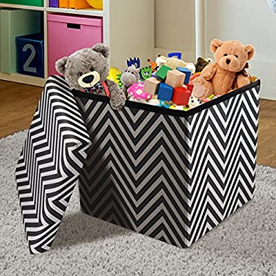 Sorbus Storage Ottoman Bench – Collapsible/Folding Bench Chest with Cover – Perfect Toy and Shoe Chest, Hope Chest, Pouffe Ottoman, Seat, Foot Rest – Contemporary