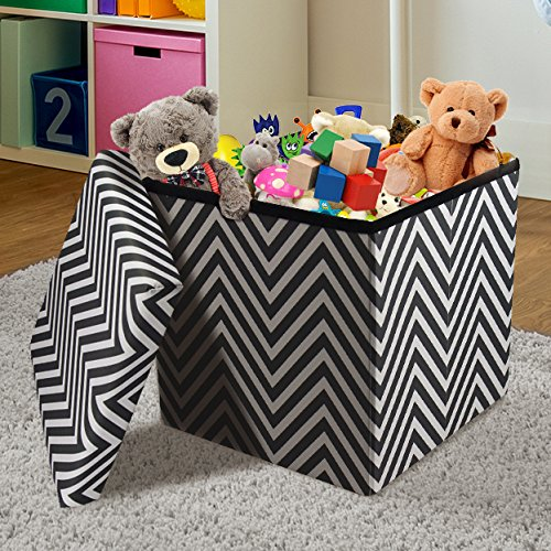 Chest Storage Up Pop (Sorbus Chevron Storage Ottoman Cube – Foldable/Collapsible with Lid Cover – Perfect Hassock, Foot Stool, Toy Storage Chest, and more (Small-Ottoman, Chevron Black))