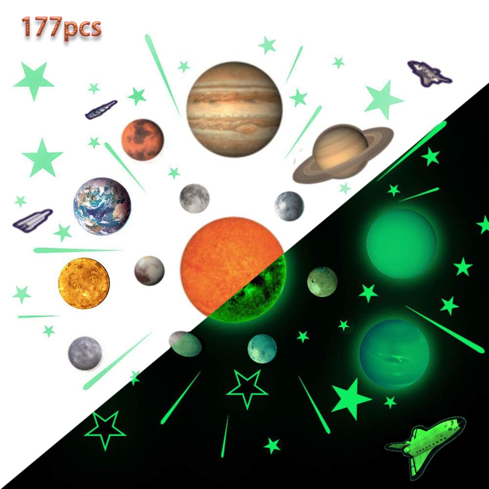 Glow Planets and Stars, Bright Solar System Wall Stickers -Sun Earth Mars and so on,Glowing Ceiling Decals for Bedroom Living Room,Shining Space Decoration for Kids for Girls and Boys by GLOCARNIVAL