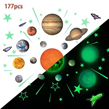 Glow Planets and Stars, Bright Solar System Wall Stickers -Sun Earth Mars  and so on,Glowing Ceiling