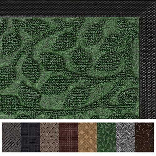 Gorilla Grip Original Durable Rubber Door Mat (29 x 17) Heavy Duty Doormat, Indoor Outdoor, Waterproof, Easy Clean, Low-Profile Rug Mats for Entry, Garage, Patio, High Traffic Areas (Green Leaves) ()