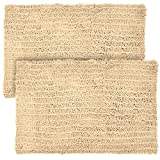 """Elegant Bath Set of 2 Microfiber Bath Mat, Non slip Backing, Ultra Soft, Extremely absorbent and Fast Drying. Durable, Easy Cleaning, Machine Washable. 5 different colors. Beige, 21""""x34"""""""