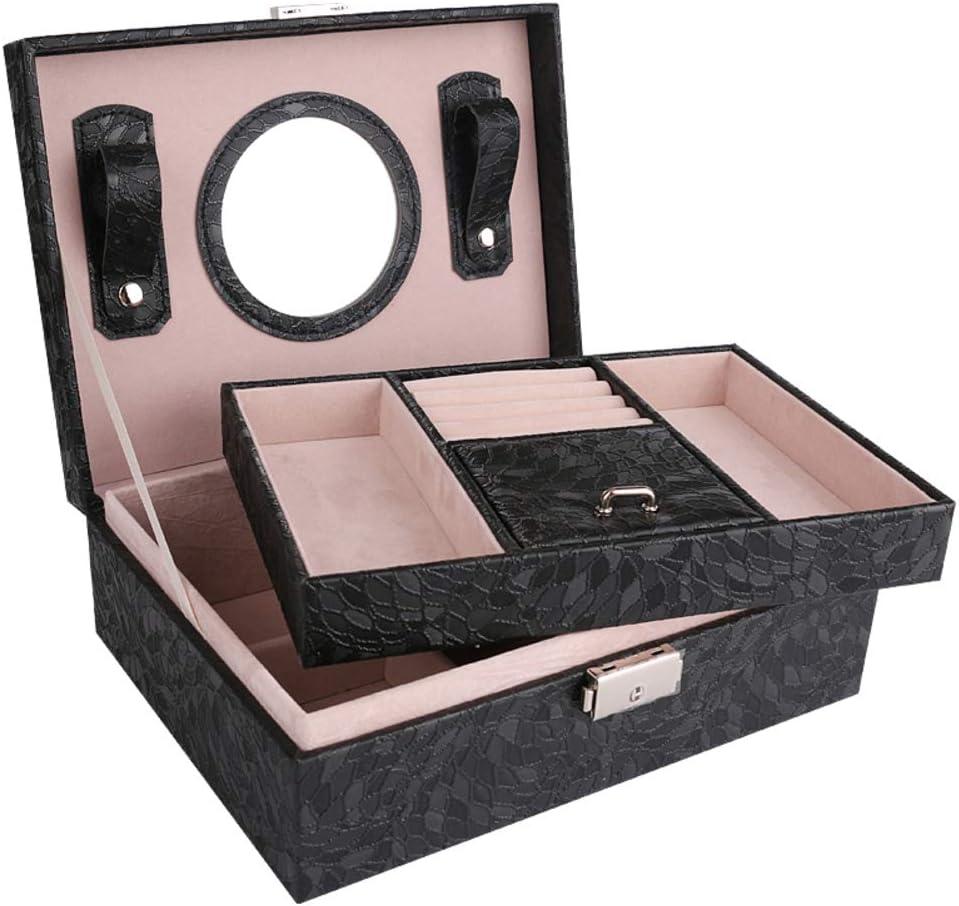 HM&DX 2-Capas Caja joyero Organizador, PU Cuero Aterciopelado Cerradura Estuche de Viaje Compartimento múltiple Organizador de la joyería para niñas Mujer -Negro Espejo: Amazon.es: Hogar