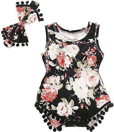 2pcs Newborn Baby Girl Black Sunsuit Clothes Romper Jumpsuit Playsuit Outfits