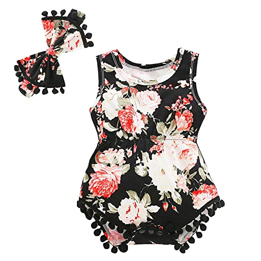 Mother & Kids Girls' Baby Clothing Lovely Newborn Baby Girls Floral Bodysuit Clothes Ruffles Sleeve Tassel Ball Playsuit Toddler Kids Jumpsuit Outfit Beach Sunsuit
