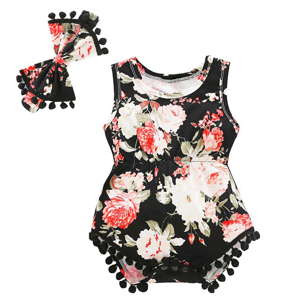 NUWFOR Newborn Infant Baby Girl Boy Floral Tassels Romper Bodysuit Headband Outfits Set(Black,3-6 Months)