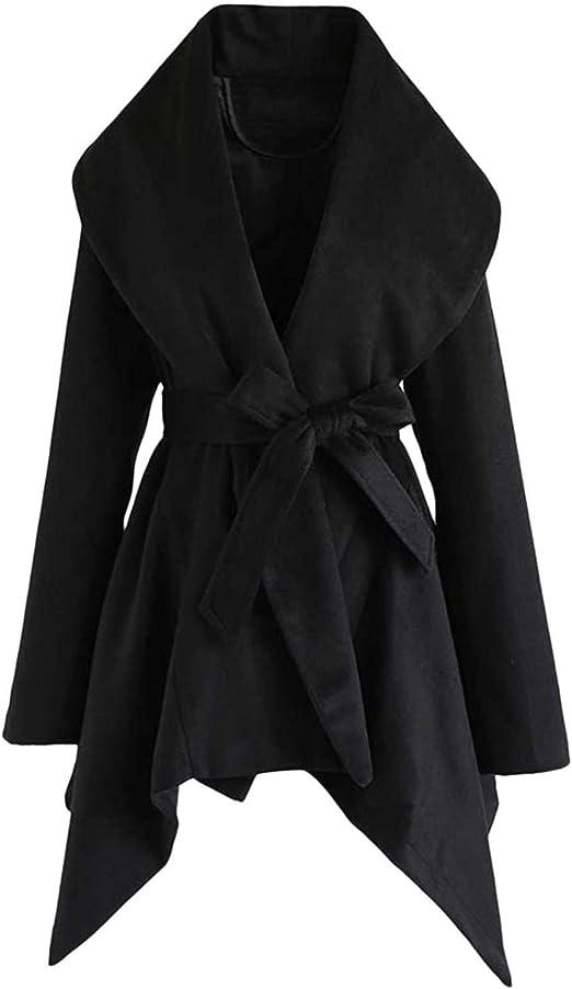 Winter Coats for Women Ulanda Womens Lapel Faux Belted Wool Coat Trench Jacket Asymmetric Hem Wrap Overcoat Outwear