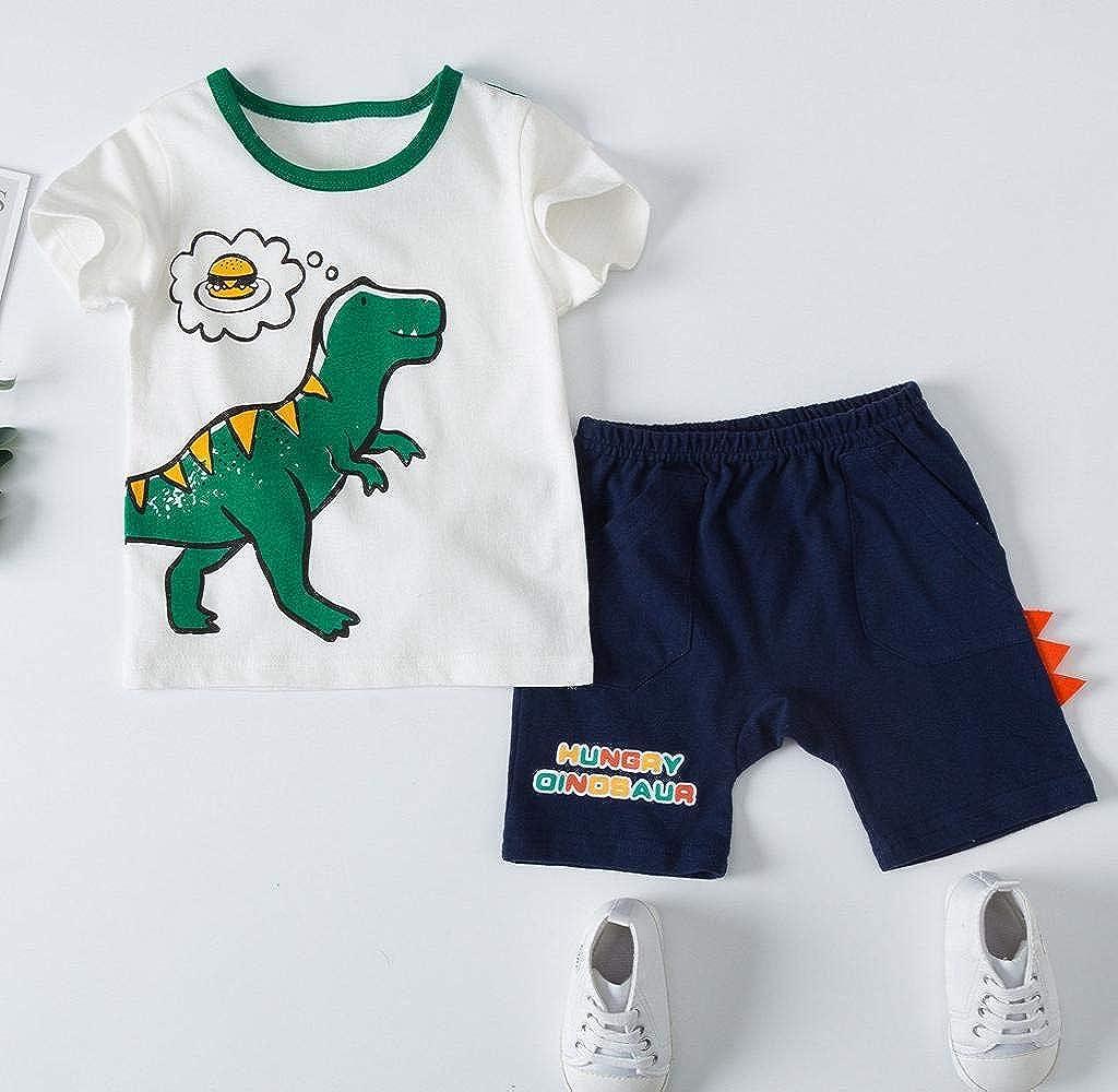 Bambino Ragazzi Camicia Dinosauro Stampa Cime Estate Manica Corta T-Shirt Griglia Pantaloncini Abiti Set Jimmackey