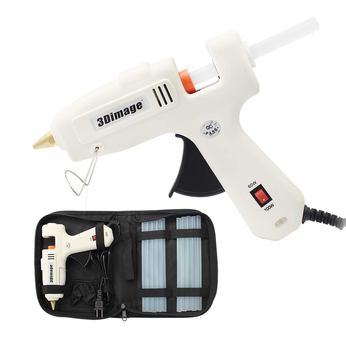 3Dimage Heavy Duty Hot Glue Gun Kit, 60W/100W Dual Power Full Size Hot Glue Gun, 10 Pcs Hi-Temp Melt Glue Sticks and a Zipper Case for Home Repair Fast, DIY Craft Projects and Life Artistic Creat