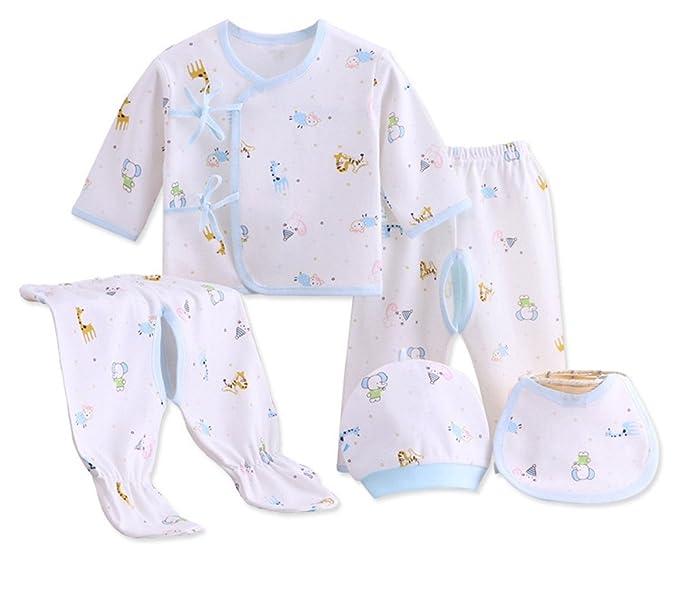 9b4a627be01c Amazon.com  AHCUTE 5 Pieces Newborn Baby Boys Girls Clothes Sets ...