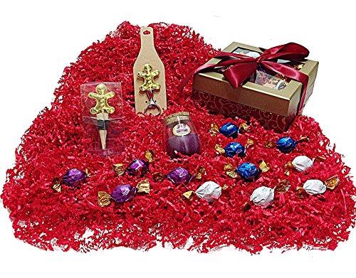 Wine Christmas Holiday Gift Box - Godiva Gourmet Chocolate Truffles, Gingerbread Man Wine Bottle Stopper, Bottle Opener & Candle