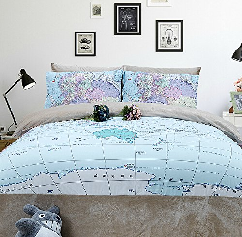 Memorecool Home Textile Creative World Map Pattern Bedding