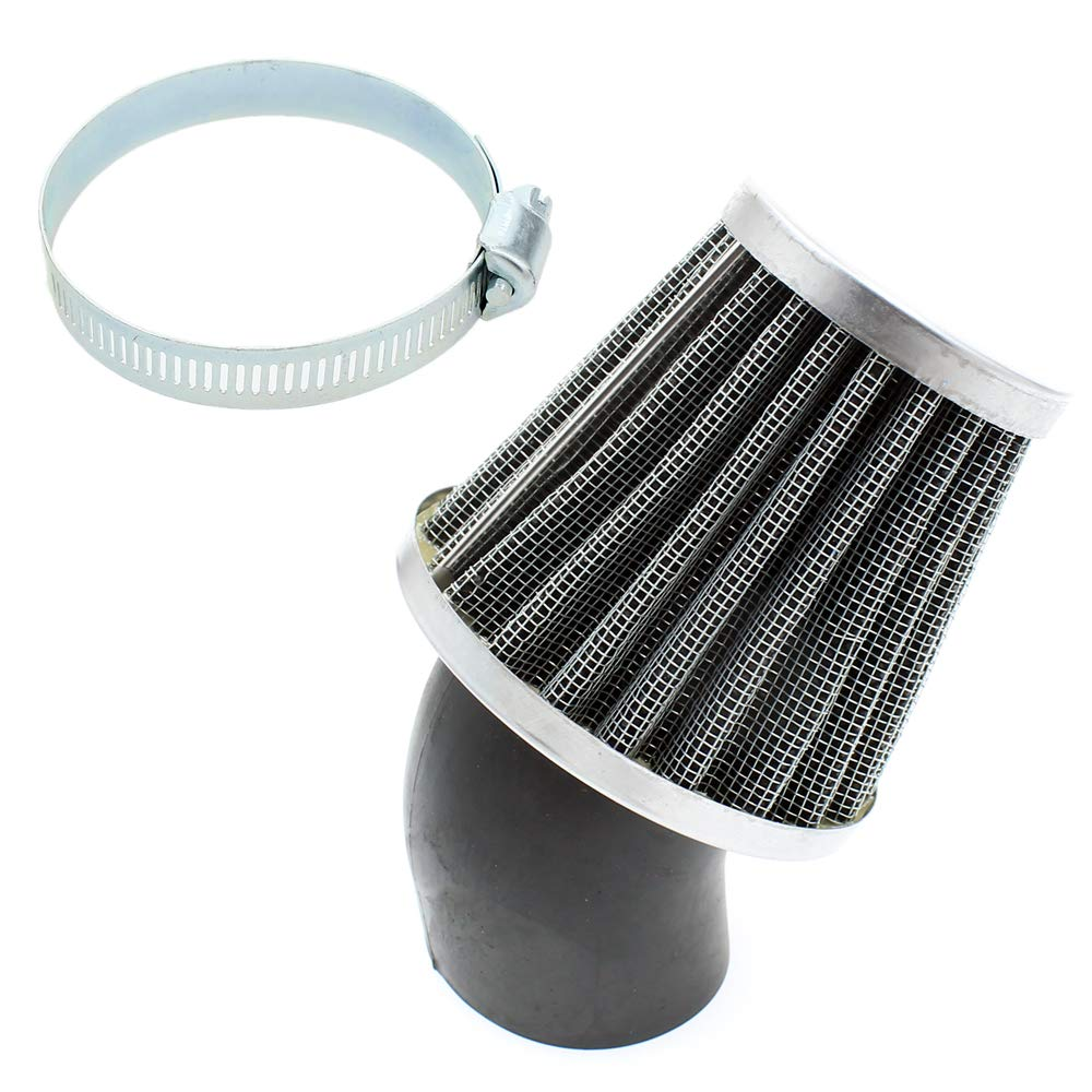 QAZAKY 41mm 42mm 43mm 1.65inch Air Filter Cleaner 45 Degree Angled for 125cc-150cc 200cc 250cc Motorcycle ATV Quad Scooter Gokart Moped Chopper Pit Dirt Pocket Mini Super Bike GY6 PZ24 PZ30 CG 1.65in