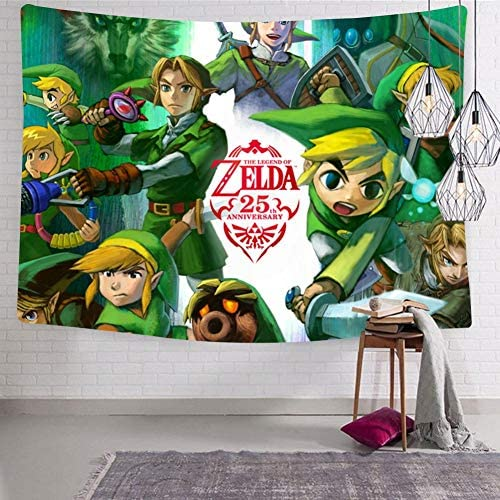 BEKAIHOME Creative Zel-Da Character Print Wall Hanging Tapestries,Wall Hanging Decor Tapestries for Bedroom Livingroom
