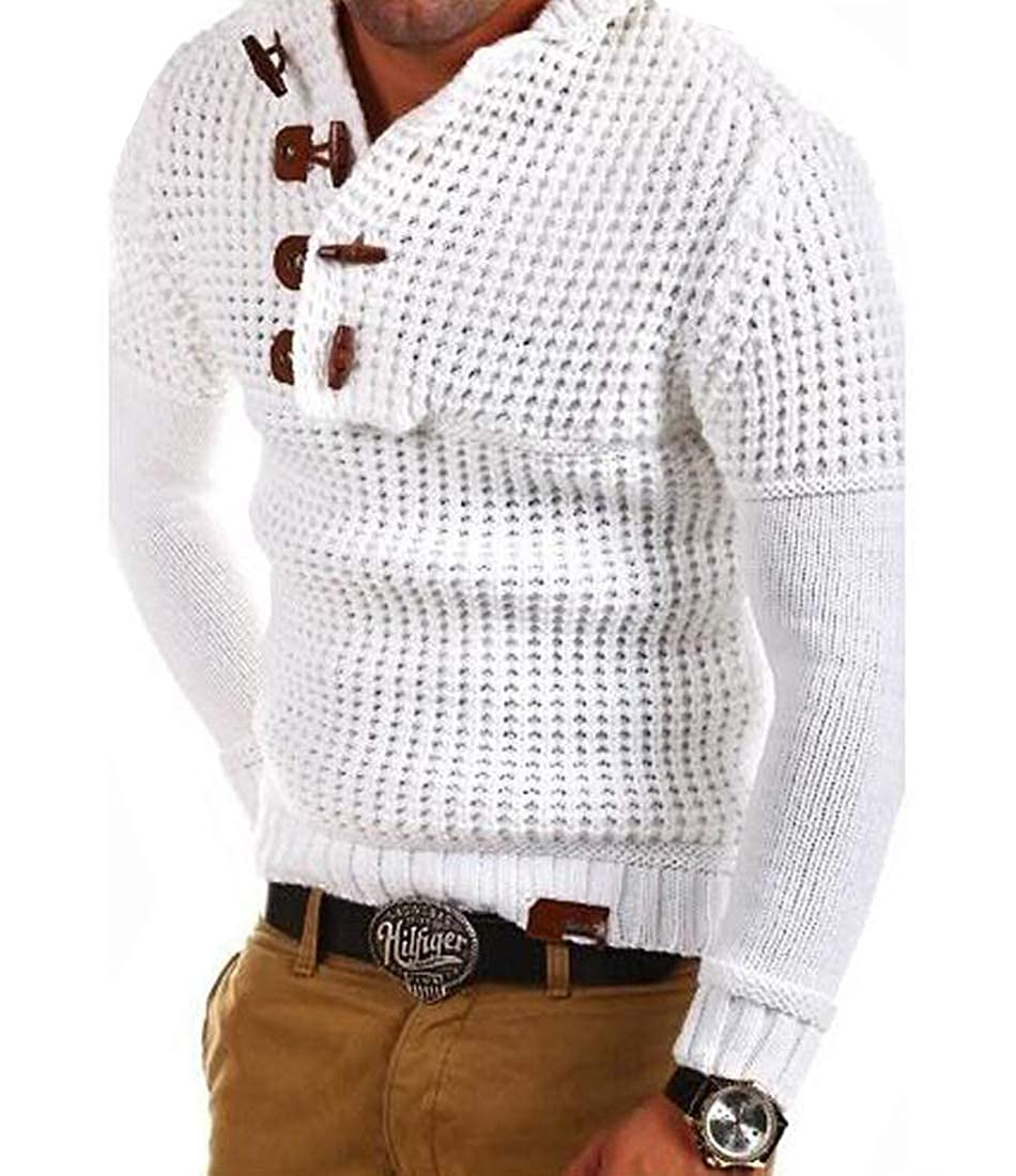Pivaconis Mens Fall//Winter Pure Color Slim Pullover Knitted Hooded Sweater